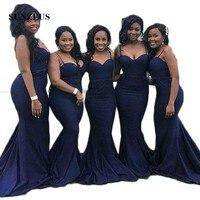 Темно синие спандекс Русалка Подружкам невесты Милая Спагетти Бретели для нижнего белья фрейлина Платья для женщин Vestido Longo;