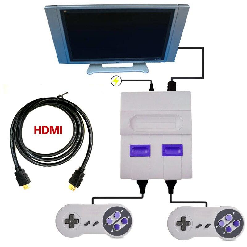 Mini HD HDMI TV Console de jeu vidéo portable rétro famille Console de jeu intégré 821 classique pour les jeux SNES double manette PAL & NTSC - 2