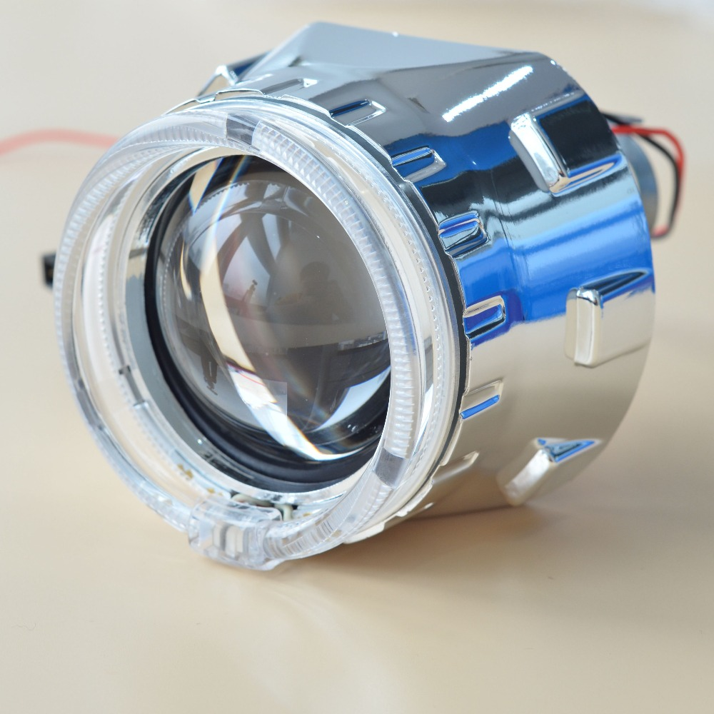 ФОТО Free Shipping Car Styling Kit 2.5'' H1 HID Bifocal Headlight Projector Lens for H4 H7 Socket and Optical Light Guide Angel Eyes