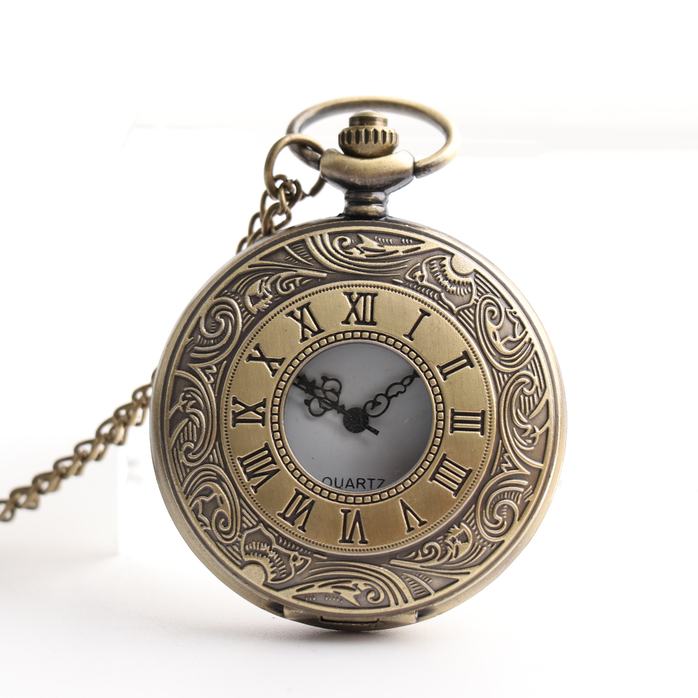 Steampunk Quartz Pocket Fob Watch with Sweater Necklace Chain Roman Numerals Men Women's Pocket Watch Clock
