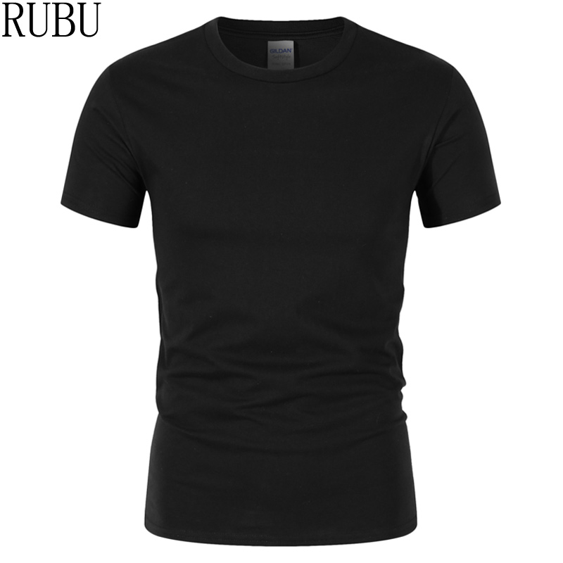 Rubu Summer New High Quality Men T Shirt Casual Short Sleeve O-neck 100% Cotton T-shirt Men Brand White Black Tee Shirt