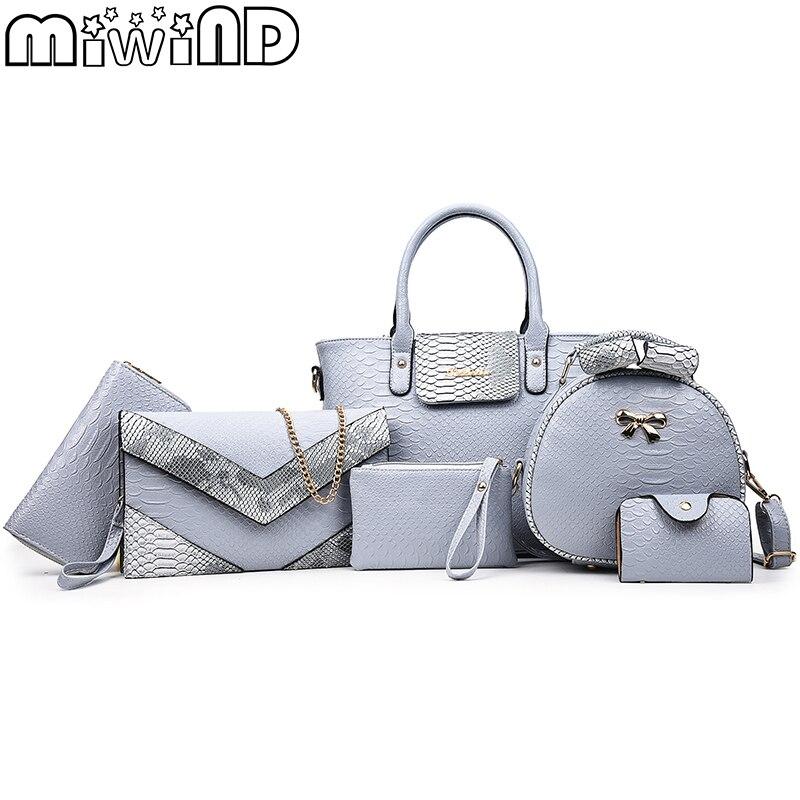 17 New Women Shoulder Bags serpentine Leather Handbags Fashion Female bag High Quality 6-Piece Set Designer Brand Bolsa Feminina