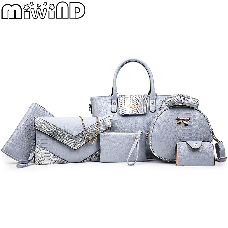17 New Women Shoulder Bags serpentine Leather Handbags Fashion Female bag High Quality 6-Piece Set Designer Brand Bolsa Feminina miwind new fashion leather handbags high quality women shoulder bags buy one get another free full set 6 pieces more favorable