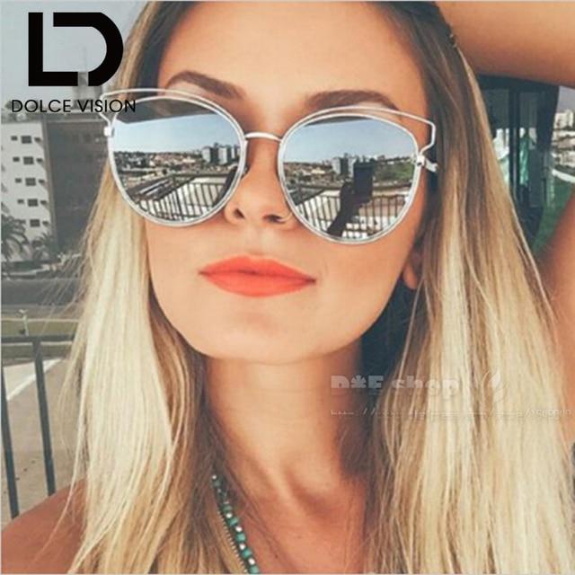 9358b60705 DOLCE VISION Fashion 2018 Cat Eye Sunglasses Women Silver Mirror UV400  Shades Oculos Female Metal Designer Sun Glasses For Women