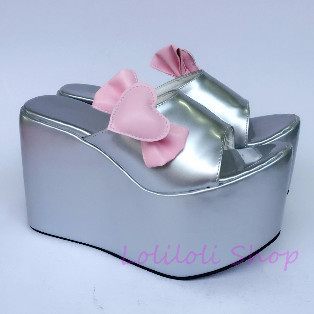 Princess sweet lolita shoes loliloli yoyo Japanese design custom big size silvery with pink love bow high boots 1385