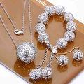925 стерлингового серебра ювелирные изделия серебряный резной бал цветов, Браслеты, Ожерелье, Крюк серьги S110