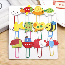 YOUE SHONE 12Pcs/lots  Creative gift cute personality paper clip card bookmark metal bookmarks for books
