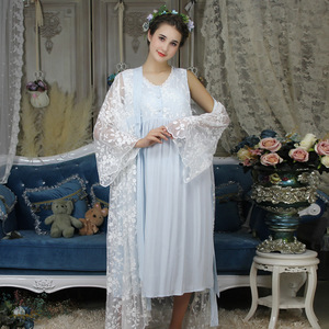 Image 4 - Autumn Cotton Women Embroidered Rob Sets White 2 Pieces Lace Nightgowns Long Sleeve Retro Solid Color Sleepwear Home Wear  063