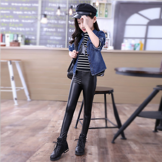 8df3d400b065a Black Baby Girls PU Leather Leggings Stretchy Slim Kids Pants Trousers  Spring Autumn Elastic Skinny Faux Leather Leggings D20