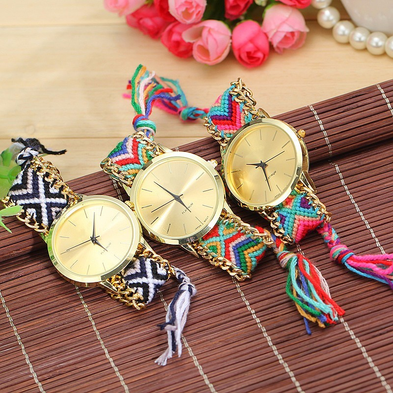 Dropshipping Handmade Braided Friendship Bracelet Watch Rope Watch Fashion Casual Women Quartz Watches Relogio Feminino