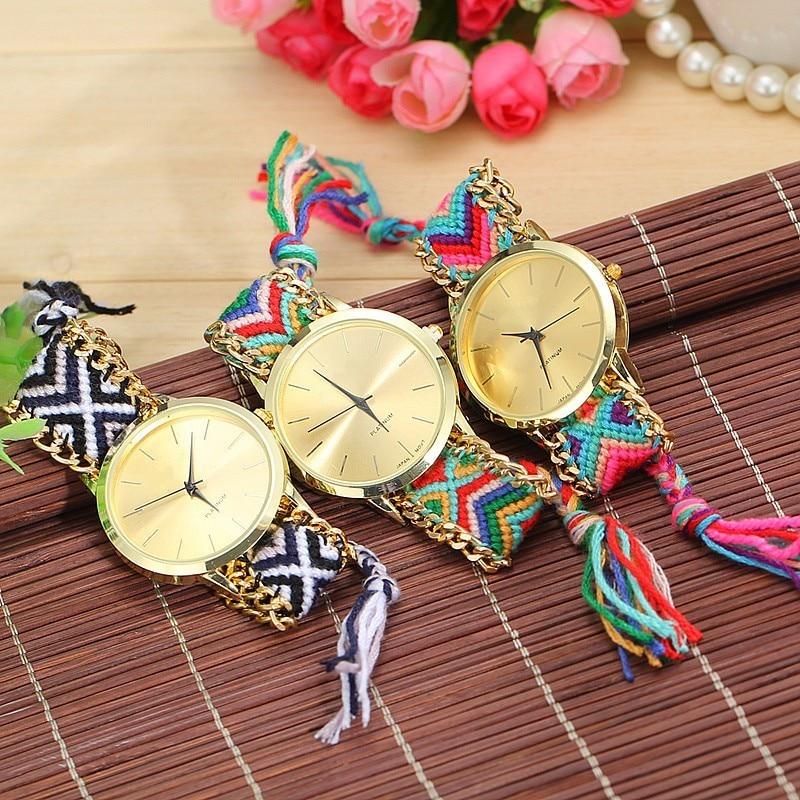 Dropshipping Handmade Braided Friendship Bracelet Watch Rope Watch Fashion Casual Women Quartz Watches Relogio Feminino