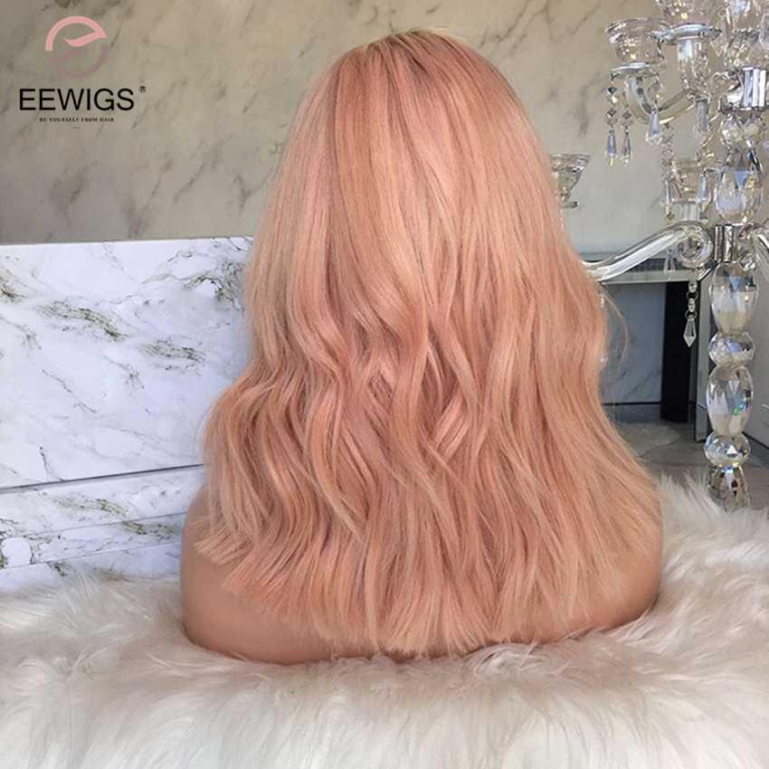 EEWIGS термостойкие синтетические волосы на кружеве парик с натуральным волосяного покрова 180% Плотность 12 дюймов короткие волнистые волосы