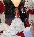 Fascinante Balón vestido de Baile para Las Muchachas de La Perla de Lujo Espalda Abierta de Correas Espaguetis Tribunal Tren Roseta Niña Vestidos de Boda