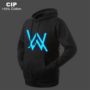 Alan Walker Hoodie Fleece Neon LED Sign Baby Boys Jacket Outerwear Coat Cotton Thick Kids Clothes Children Clothing With Hooded face mask