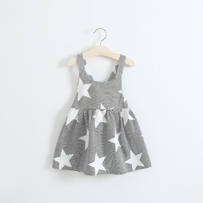 Hot sale ins new girls children s dress baby girls backless striped tiny spot sleeveless font
