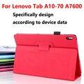 Caso estande de luxo para lenovo a7600 tablet tampa funda capa, flip pu capa de couro inteligente tampa traseira para lenovo tab a10-70fa7600 10.1 caso