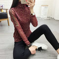 2017 New style long sleeve Turtleneck t shirts Sequined Patchwork Women tops Spring casual Basic Vestidos WQ257