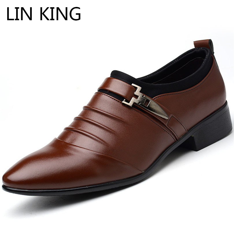 цена на LIN KING Fashion Pu Leather Casual Shoes For Men Pointed Toe Formal Shoes Slip On Man Oxfords Shoes Male Dress Shoes Big Size 48