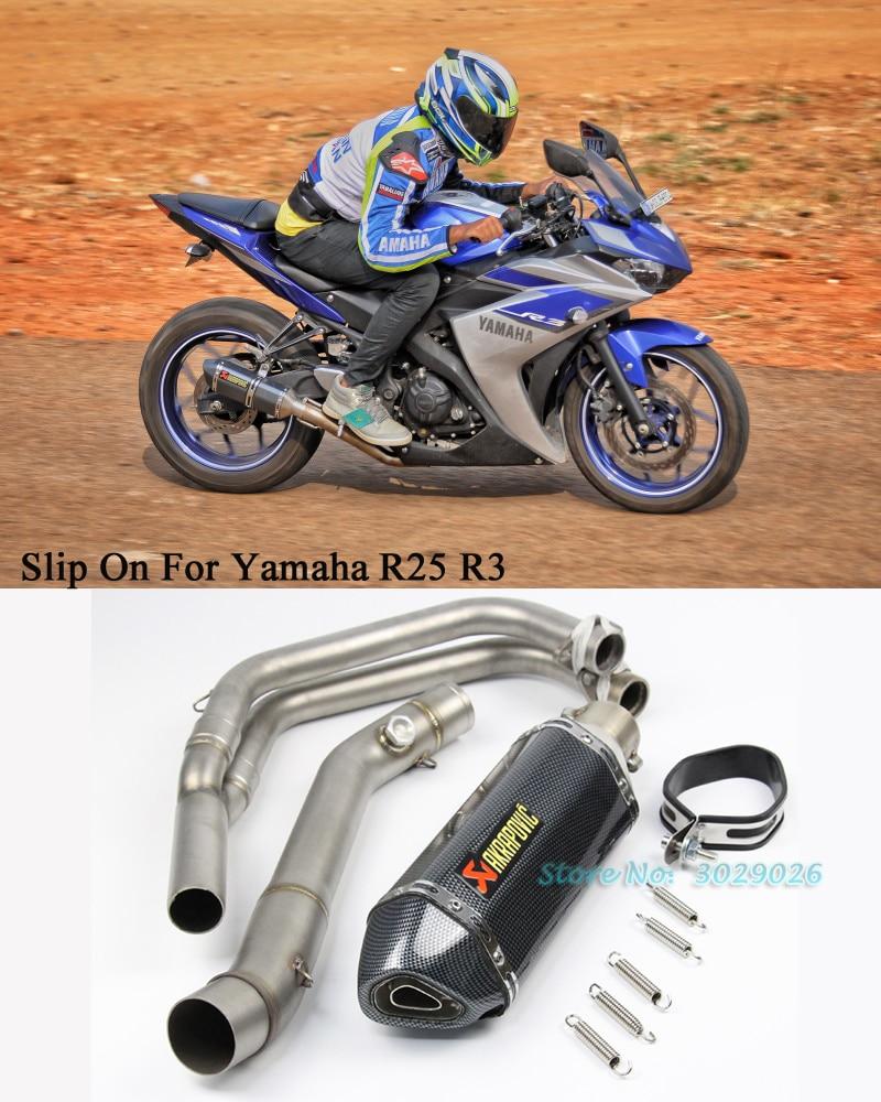 Слипоны для Yamaha r25 R3 мотоцикл изменение глушитель заполнения Системы трубы Передняя труба с Escape углерода Волокно Сталь