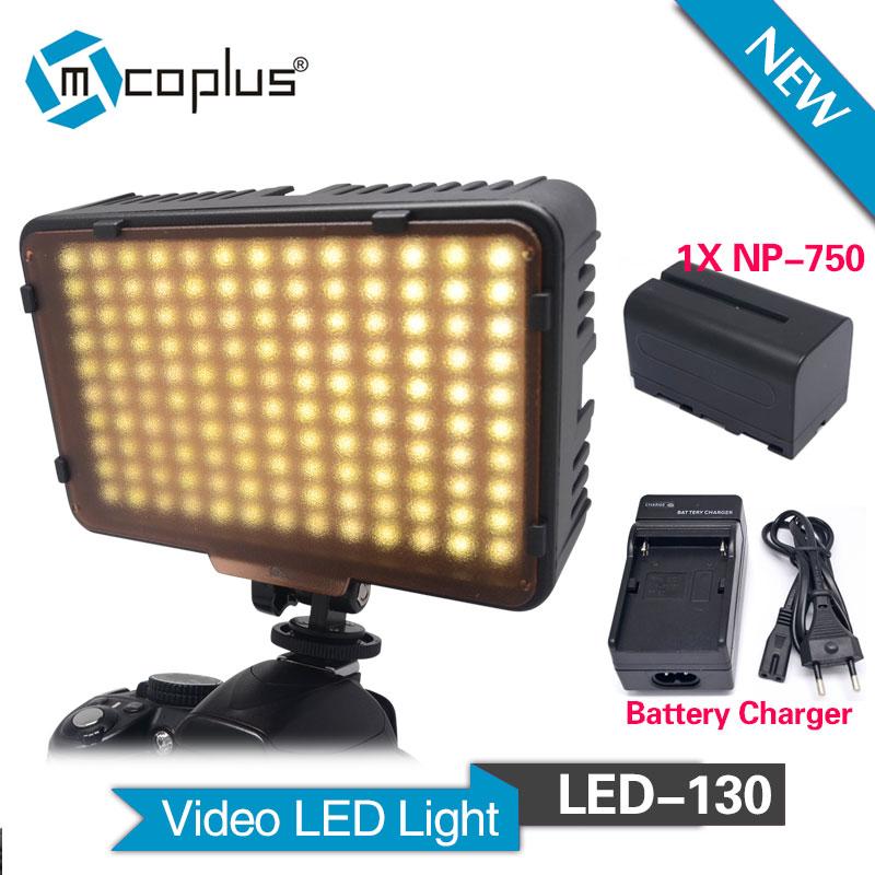Mcoplus 130 LED Video světlo s 1 x NP-F750 baterií pro Canon Nikon Sony Pentax Panasonic Samsung Olympus a DV videokamera  t