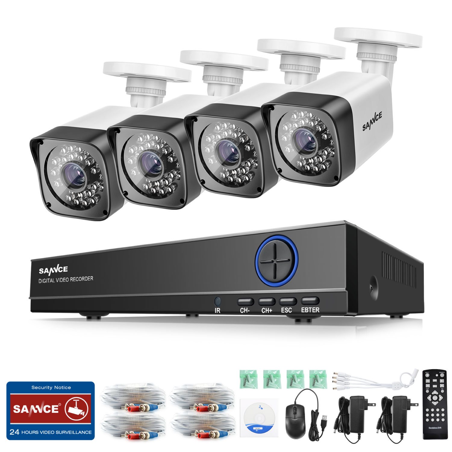 SANNCE 8CH CCTV System 4 in 1 DVR 4PCS 720P IR Weatherproof Outdoor Camera Home Security System Surveillance Kits zosi 8ch cctv system 8ch network tvi dvr 4pcs 1280tvl ir weatherproof home security camera system surveillance kits