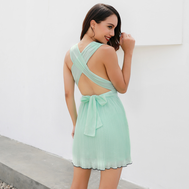 celucasn Summer Sexy Chiffon Pleated Dress Women Backless Deep V Neck Solid Dresss High Waist Lace Bow Draped Vestidos 81606
