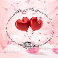 CLUCI Valentines Gift 925 sterling silver Double Heart bracelet accessary romantic love Bijoux Fine Dainty Heart Tiny bracelet