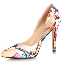 SHOFOO shoes,New fashion free shipping, multicolor leather, 11 cm high-heeled shoes, pointed toe pumps.SIZE:34-45