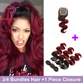Ombre Malaysian Hair With Closure Body Wave With Closure 1B 99j Red Malaysian Hair Weave Bundles Burgundy Malaysian Body Wave