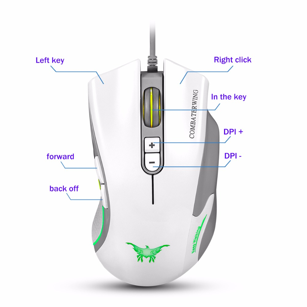 ④Combaterwing ajustable 4800 DPI Wired Gaming mouse profesional ...
