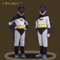 Boys Girls Spiderman Cosplay Costume For Halloween Baby Kids Batman Clothes With Mask Cloak Children Captain