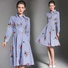 women's clothing 2017 lapel embroidered long sleeves self-cultivation long dress vestidos