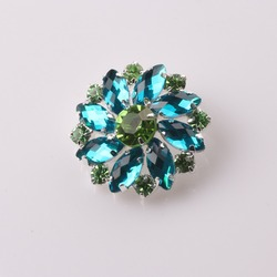 Hot 5pcs/lot 30mm Green Floral Acrylic buttons/ Diamante rhinestone button DIY for Wedding Decoratio sewing Clothing buttons