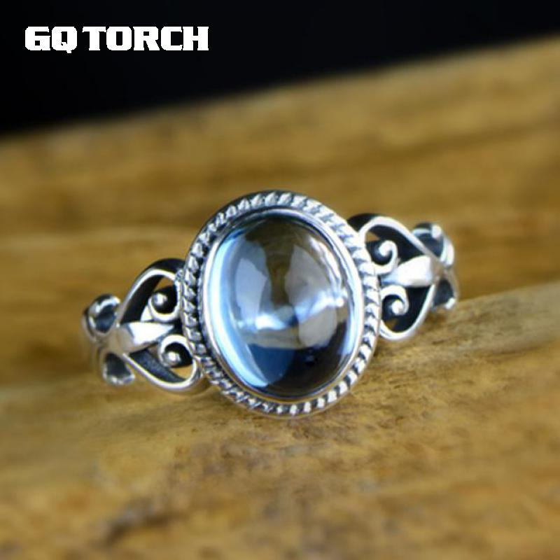 GQTORCH Real 925 Sterling Silver Ring Fine Jewelry Natural Blue Topaz Rings For Women Vintage Retro Type Flower Carving gqtorch natural purple amethyst rings for women 925 sterling silver jewelry vintage thai silver flower engraved anelli argento