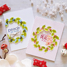 Eastshape Flowers Wreath Circle Metal Cutting Dies and Stamps Peace Word New DIY Scrapbooking Photo Album Cards Decoration Die