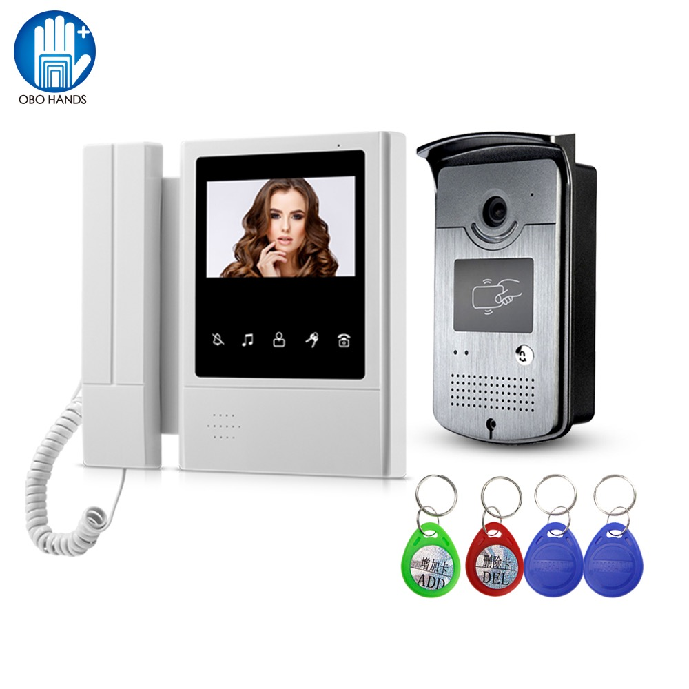 Wired Video eye Video Doorbell Intercom Home System 4 3 Indoor Monitor RFID Smart Camera with
