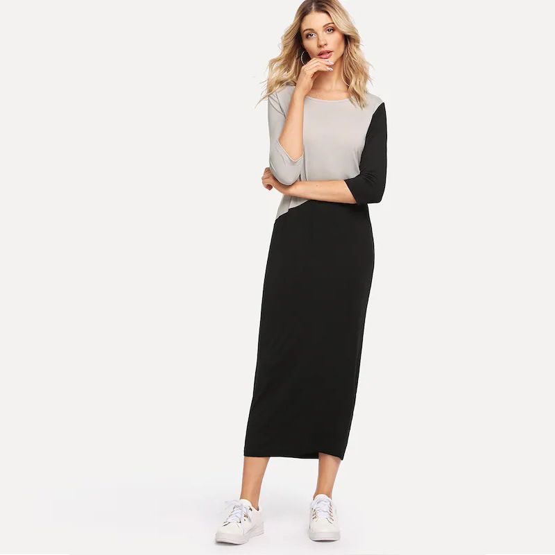 517930d2e5 Sale Shop== Jersey Dress for women casual patchwork Long women's dress Long  dresses 2019 new Autumn Winter Maxi Party Holiday gift Dress-in Dresses  from ...