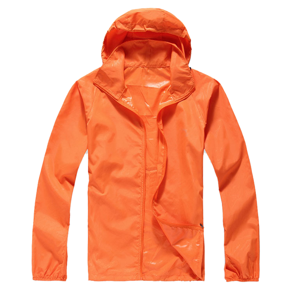 Outdoor Unisex Cycling Running Waterproof Windproof Jacket Rain Coat -Orange,XS