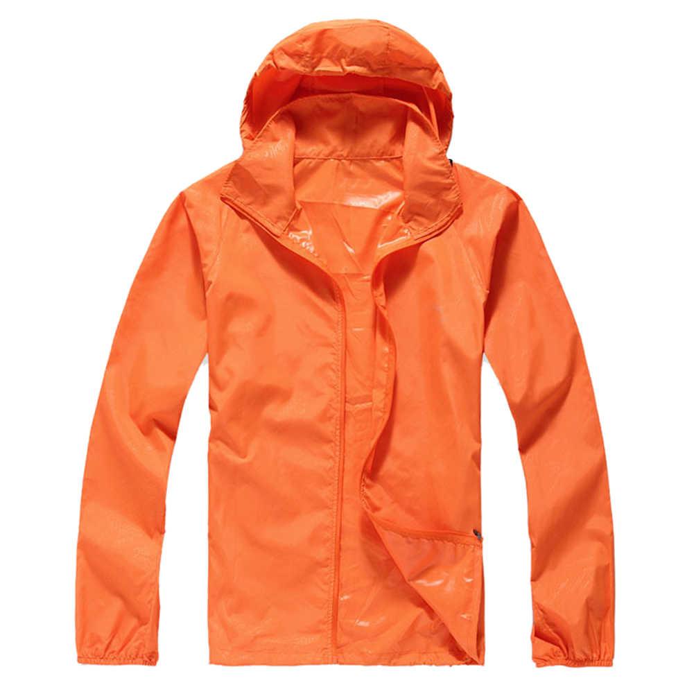 屋外ユニセックスサイクリングランニング防水防風ジャケットレインコート-オレンジ、xs