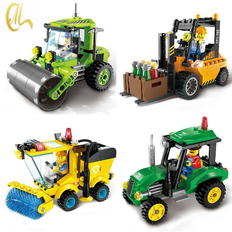 City Series Forklift Truck Car Building Blocks Compatible with friends Car Construction Blocks Toy for Children Gift enlighten city series tractor building blocks compatible with legoe minifigure city construction children educational toy gift