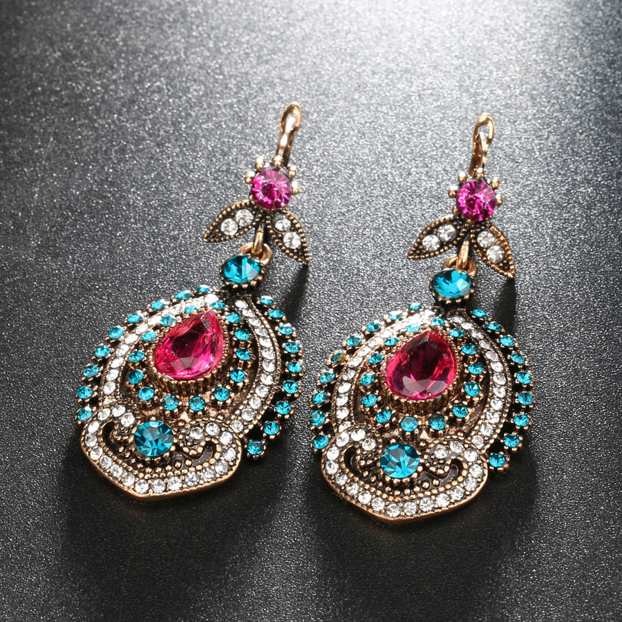 Kinel 3pcs Vintage nakit setovi za žene Antique Gold Pink Crystal - Modni nakit - Foto 5