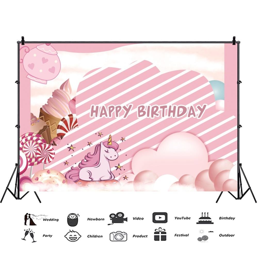 Laeacco Happy Birthday Candy Ice Cream Unicorn Baby Children Cartoon Scenic Photo Backgrounds Photography Photo Backdrops Studio in Background from Consumer Electronics