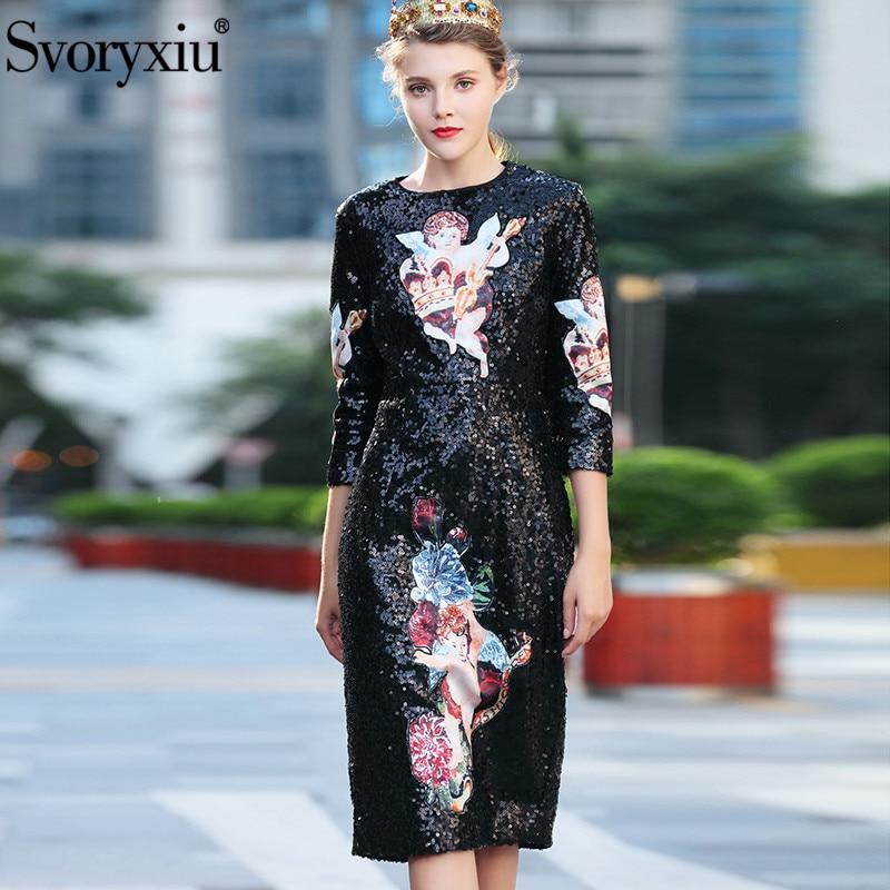 Svoryxiu Runway Autumn Luxury Black Sequined Dress Women's 3/4 Sleeve Angel Appliques Vintage Elegant Party Sequined Dresses