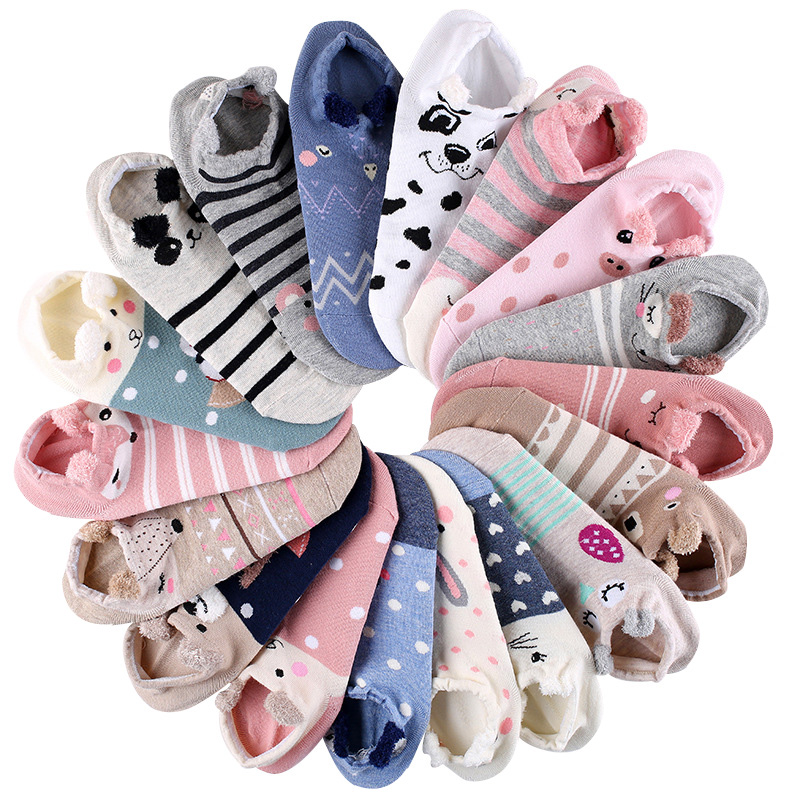 5 Pair Women Sock Spring Summer Three-dimensional Shallow Mouth Cartoon Female Cotton Invisible Cotton Japanese Cute Animal Sock(China)