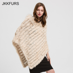 Image 2 - 2019 Womens Poncho Real Rabbit Fur Knitted Shawl Raccoon Fur Collar Top Quality Large Cape Fashion Style S1729
