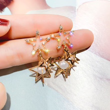 small cute Crystal Girl Star Dangle pearl Earrings Women Exaggerated Geometric Party Ear Vintage Studs Beautiful