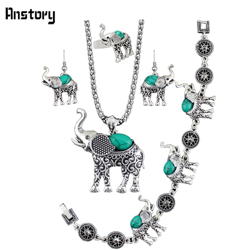 Anstory Pendant Stone Jewelry Sets Ring For Women Vintage