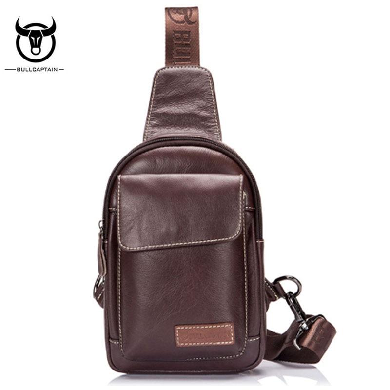цена на BULL CAPTAIN Men Bag First Layer Cowhide Sling Chest Back Pack Travel Genuine Leather Sling Messenger Shoulder Bag Leather pack