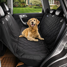 Universal Black Dog Seat Covers for Cars with Extra Side Flaps Hammock Waterproof Quilted Pet Seat Protector Bench Truck Cover