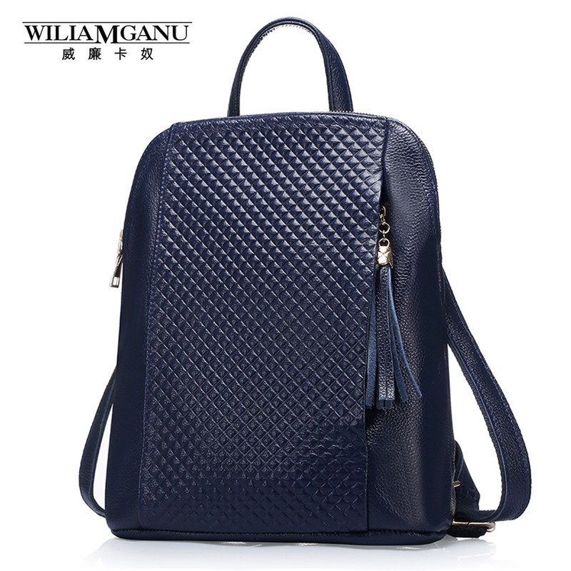 WILIAMGANU Genuine Leather Women Backpacks Fashion Woman Bags Plaid stripes Style Shoulder Backpack For Girls Black Blue 0718 new brand designer women fashion backpacks simple koran style school for teenager girls ladies shoulder bags black